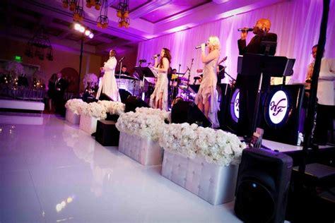 outdoor ceremony purple and white ballroom reception