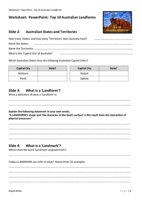 Landscape Lesson Powerpoint Worksheet Top 10 Australian Landforms
