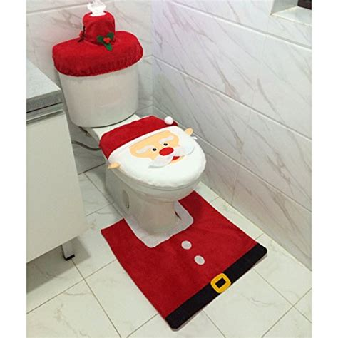 santa bathroom set santa toilet seat cover and rug set christmas bathroom