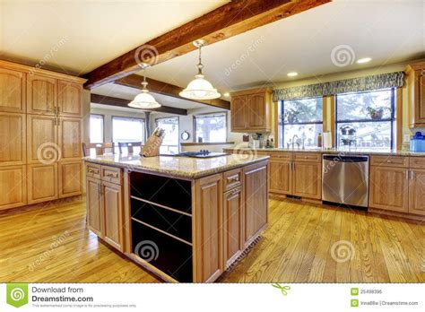 Kitchen Island That Seats 4 large wood kitchen with island and wood beam royalty free
