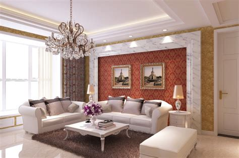 neoclassical living room sofa background wall