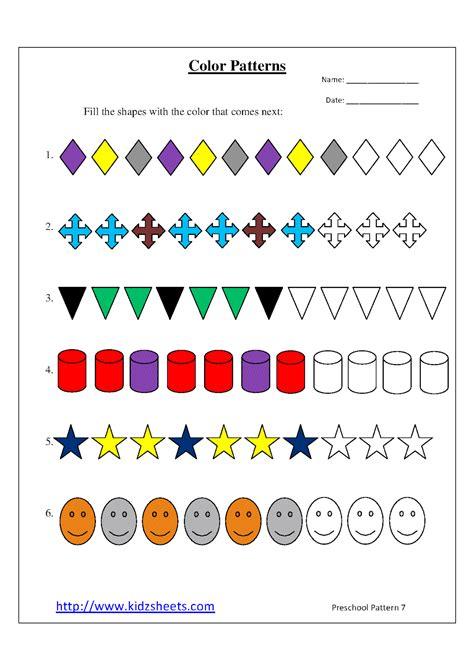 pattern making kindergarten color pattern worksheets for preschool kidz worksheets