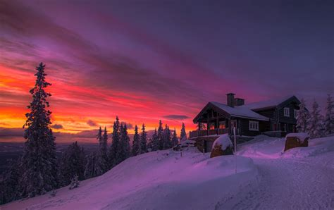 Sunset Cottages by Winter Sunset Clouds Forest Cottage Snow Cold Trees Yellow