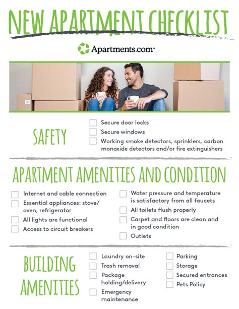 new apartment checklist things to when touring a new apartment apartments
