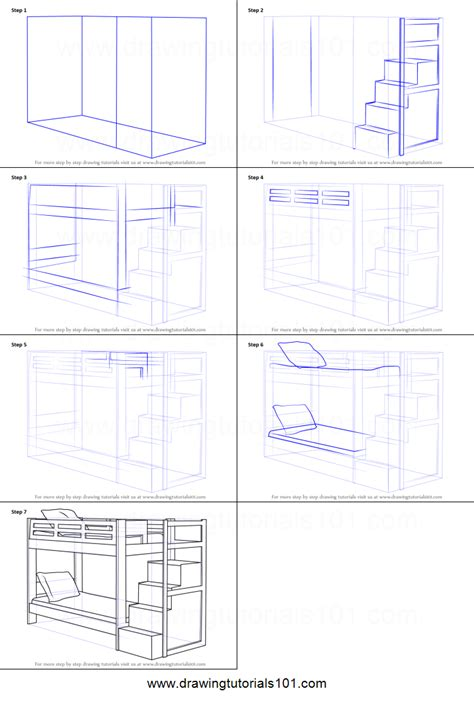 draw  bunk bed printable step  step drawing sheet drawingtutorialscom