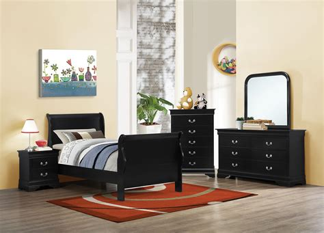 louis philippe sleigh bedroom set louis philippe black ii twin sleigh bedroom set 203961t