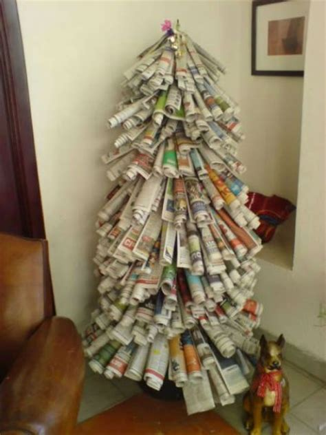 innovative christmas trees made from recycled material