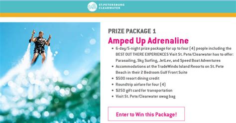 Visit St Pete Clearwater Sweepstakes - amped up giveaway summer sweepstakes from st pete clearwater american sweepstakes