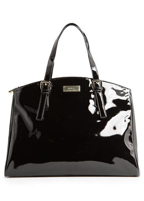 Mango Tote Bag mango patent tote bag in black lyst