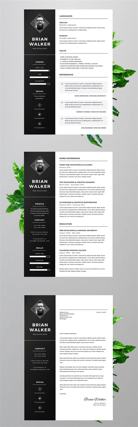 Resume Template Illustrator by Free Resume Template For Word Photoshop Illustrator On