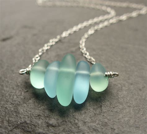 glass for jewelry sea glass necklace seafoam green blue 14k gold
