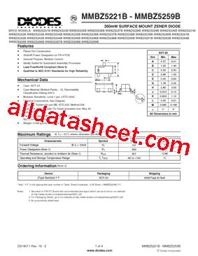 diodes inc bat54 7 f mmbz5221b 7 f 데이터시트 pdf diodes incorporated