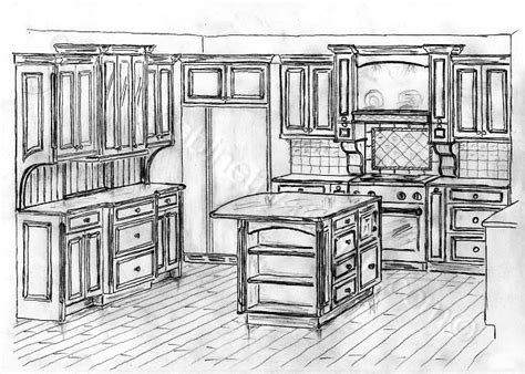 Sketch Of Kitchen by Distressed Kitchen Cabinets Custom Made Cabinets And