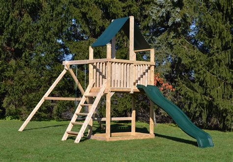 wooden swing set with tire swing cedar swing sets the dunmore play set