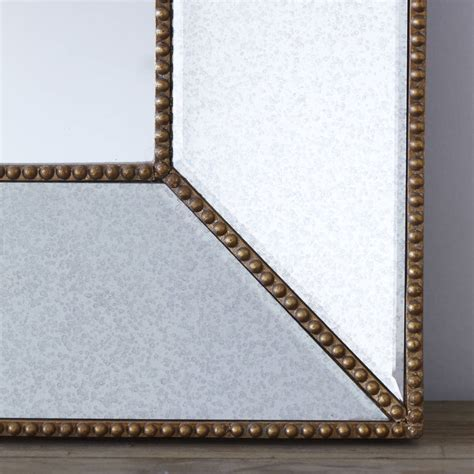 gold beaded vintage glass wall mirror by primrose plum