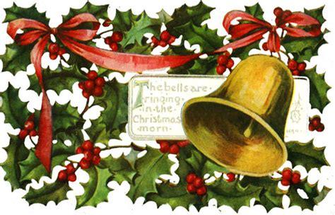 clipart vintage christmas bells holly mistletoe