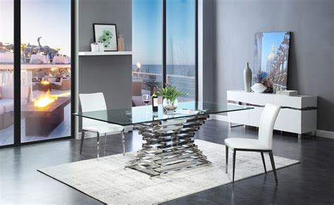 Glass Contemporary Dining Table Modrest Modern Rectangular Glass Dining Table