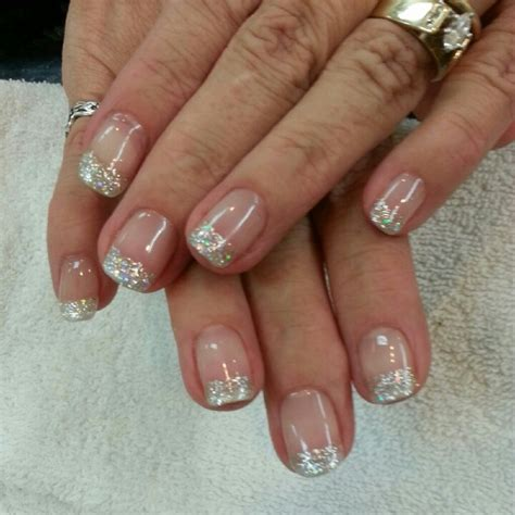 new year gel nail gel manicure with silver glitter tips nails new year s