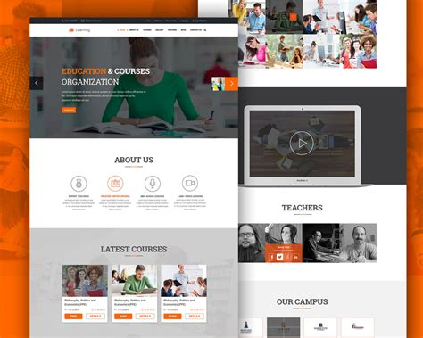 online tutorial website templates elearning education website free psd template download
