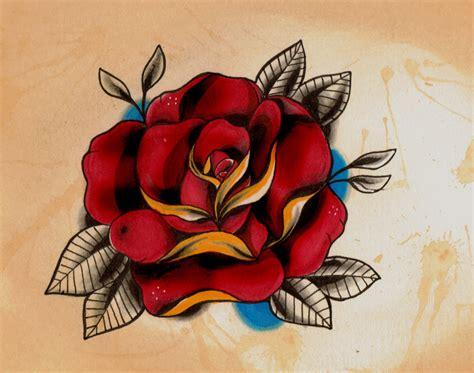 new school rose tattoo new school style