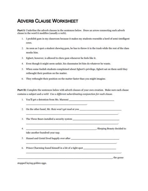 Adverb Clause Worksheet by Worksheet Adverb Clause Worksheet Caytailoc Free