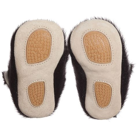 petit nord black seal fur baby boots with wool lining