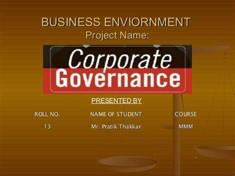 Project On Corporate Governance For Mba Students by Corporate Governance
