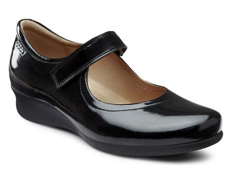 ecco flat shoes ecco s abelone black shiny flat shoes