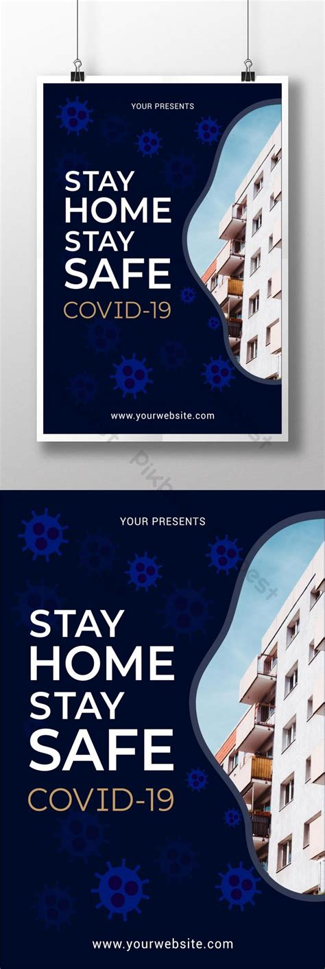 stay home stay safe coronavirus poster design template