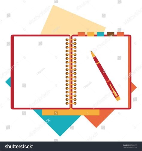 notepad html design view flat design notepad paper sheet isolated stock vector