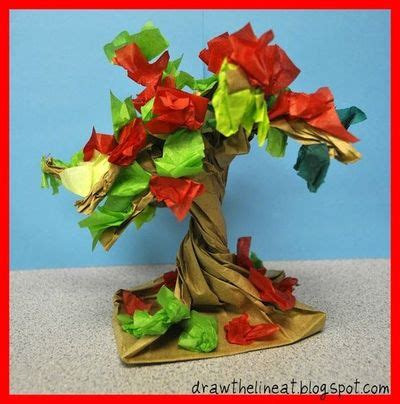 Paper Bag Tree Craft - trees made from a paper bag and tissue paper preschool
