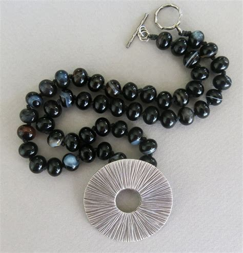 Handmade Gemstone Jewelry - handmade black agate and thai silver necklace handmade
