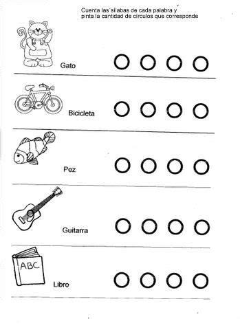 Fichas de ejercicios con sílabas para niños