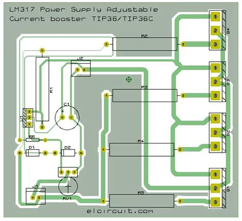 layout pcb power supply 10a lm317 adjustable power supply and current booster