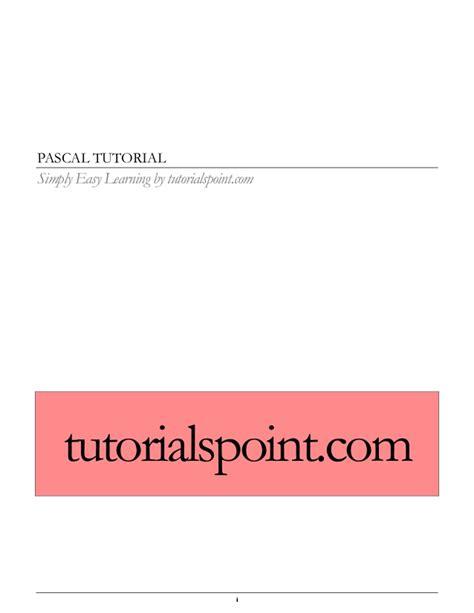 tutorialspoint pascal pascal tutorial