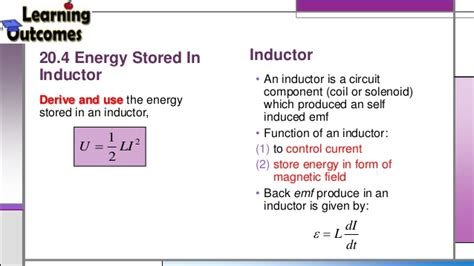 formula for energy stored in inductor ch20 electromagnetic induction