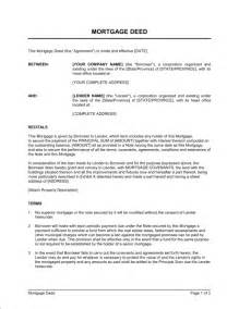 mortgage template mortgage deed template sle form biztree