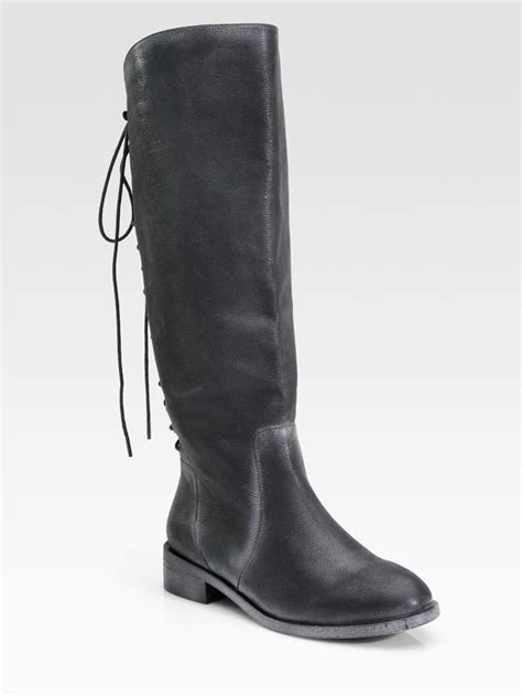 joie ride leather lace up knee high boots in