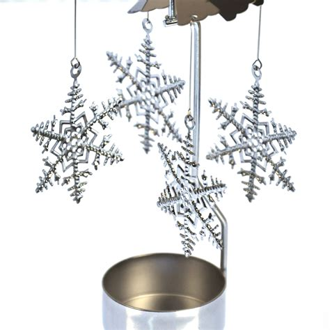 snowflake tea light holders snowflake silver rotating tea light holder t light