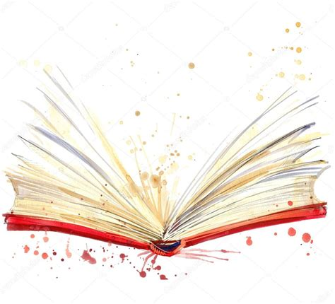 the color of water book open book watercolor illustration stock photo