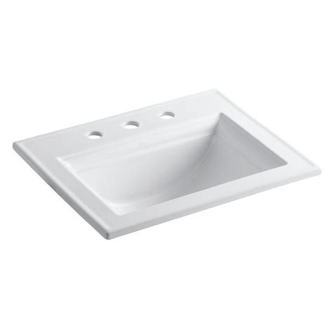 white bathroom sinks shop kohler memoirs white drop in rectangular bathroom sink with overflow at lowes com