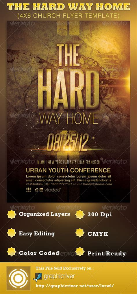 The Hard Way Home Church Flyer Template By Loswl Graphicriver Church Flyer Template