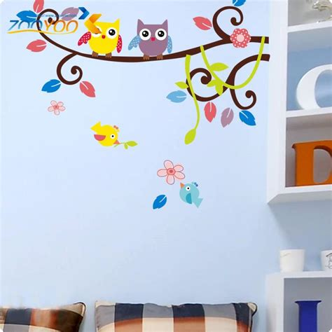 Nursery Wall Decorations Removable Stickers Owl Wall Stickers For Room Decorations Animal Decals Bedroom Nursery Removable Tree Wall