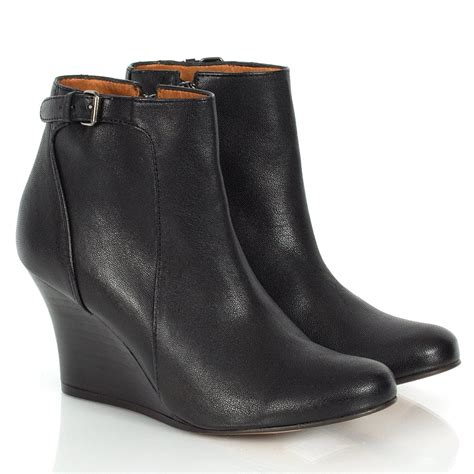 lanvin black metala wedge ankle boots