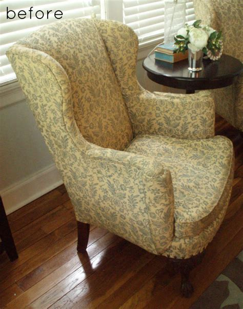 reupholster couch before and after before after reupholstered wingback chairs design sponge