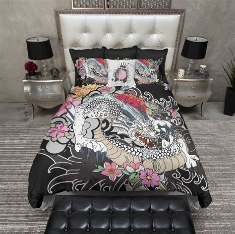 tattoo bedding white traditional japanese style bedding