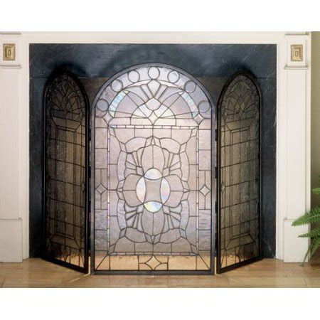 glass fireplace doors walmart meyda beveled glass 3 panel fireplace screen
