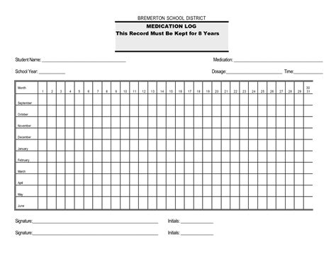 monthly medication administration record template blank medication administration record template