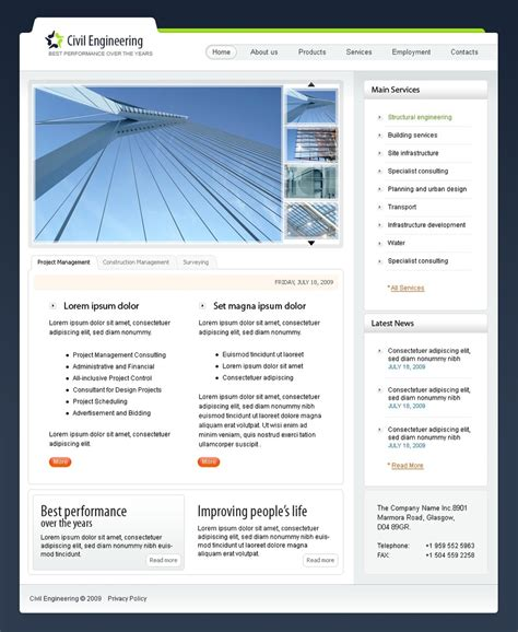 free templates for engineering website civil engineering website template 23936