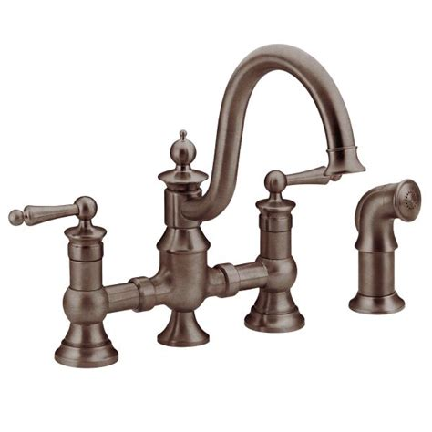 moen bronze kitchen faucets waterhill rubbed bronze two handle high arc kitchen